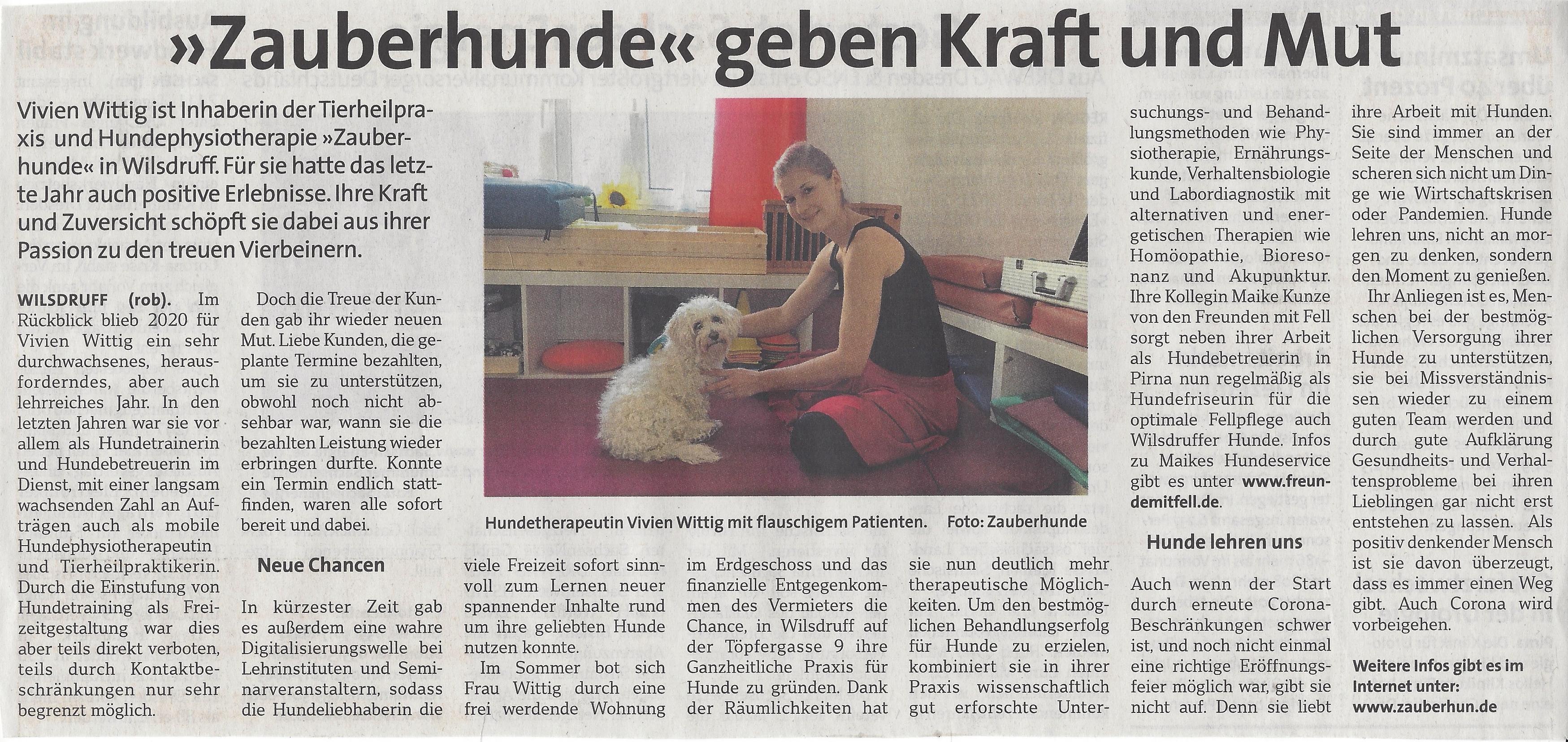 Zeitungsartikel Vivien Wittig Zauberhunde Hundephysio Wochenkurier