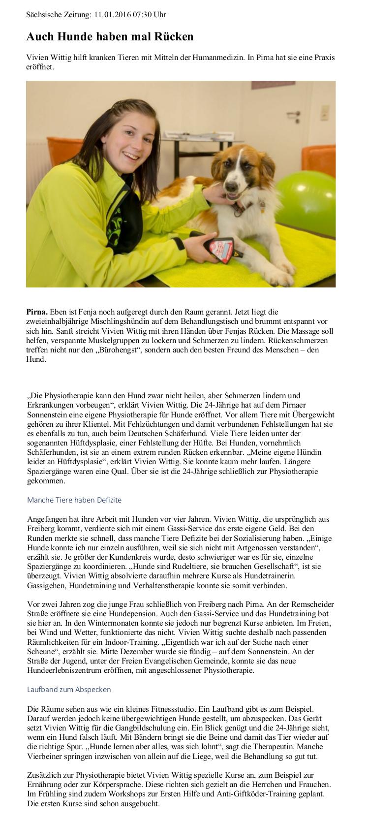 Zauberhunde Feuchtnasen Zeitungsartikel Hundepension Hundephysio Tierheilpraxis